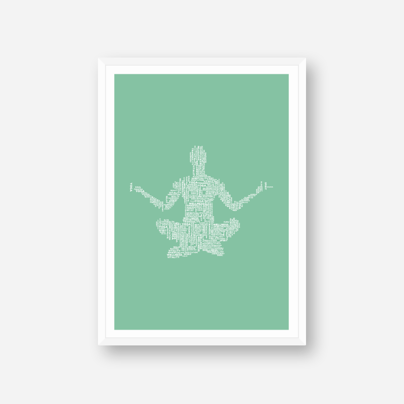 Meditation yoga relax exercise peace and other words in a meditating person shape scalable printable design, digital print
