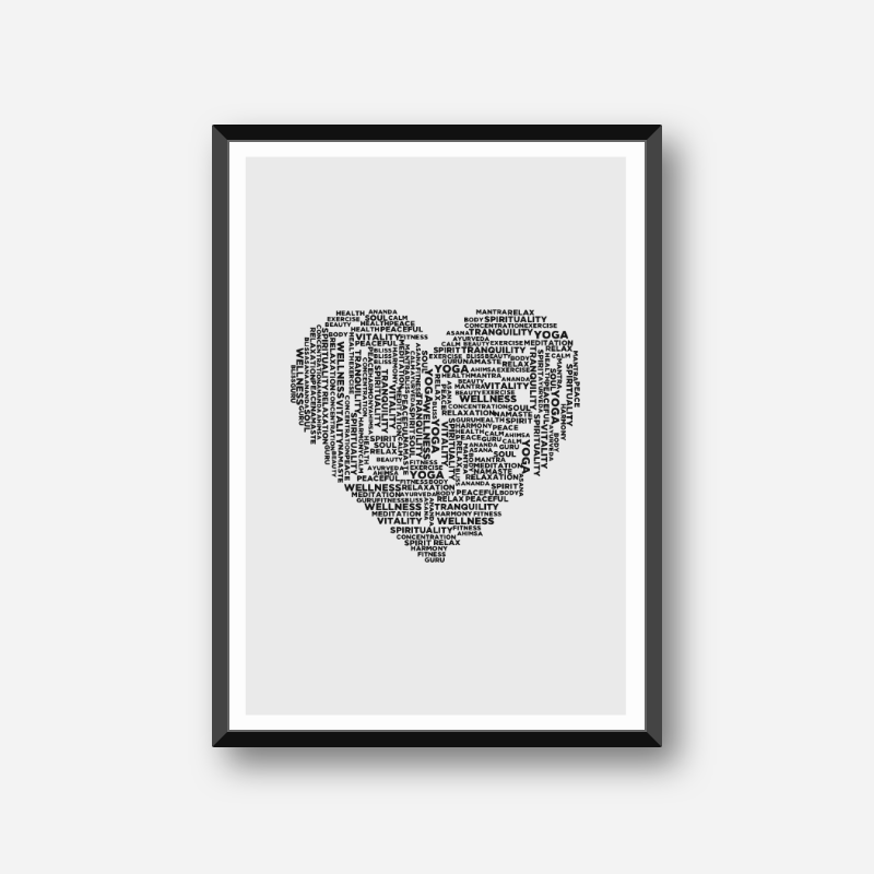Wellness yoga relax exercise heart of words monochrome scalable design to print at home, digital print