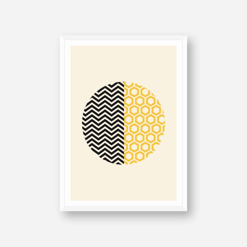 Black and yellow wave and hive shaped circle minimalist printable wall art, digital print