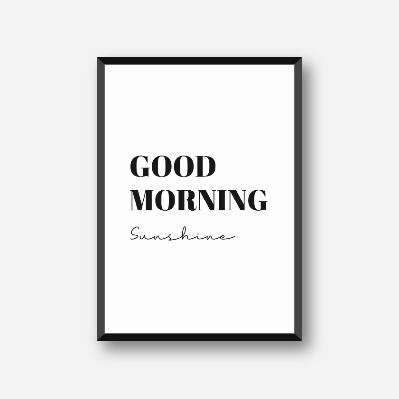 Good morning sunshine typography downloadable design, free digital print