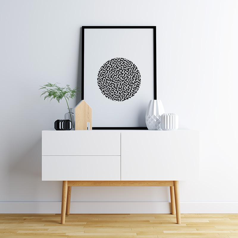 Black maze in circle geometric minimalist Scandinavian nordic style printable wall art, digital print