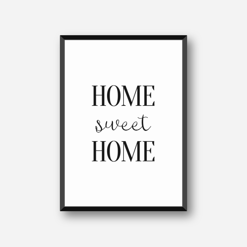 Home sweet home downloadable typography design, free digital print