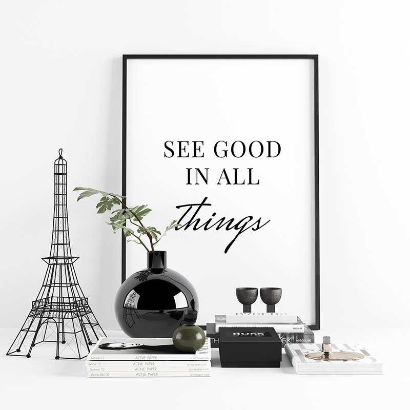 See good in all things downloadable typography design, free digital print