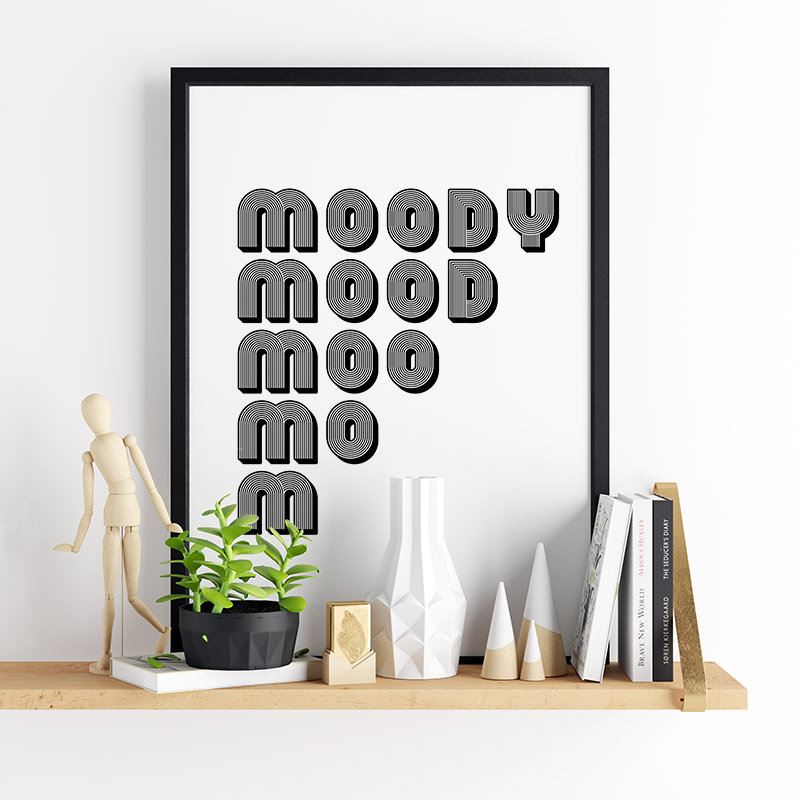 Moody mood moo mo m funny typography downloadable design to print at home, free digital print