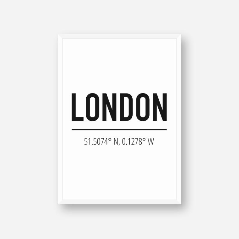 London coordinates typography downloadable wall art, digital print
