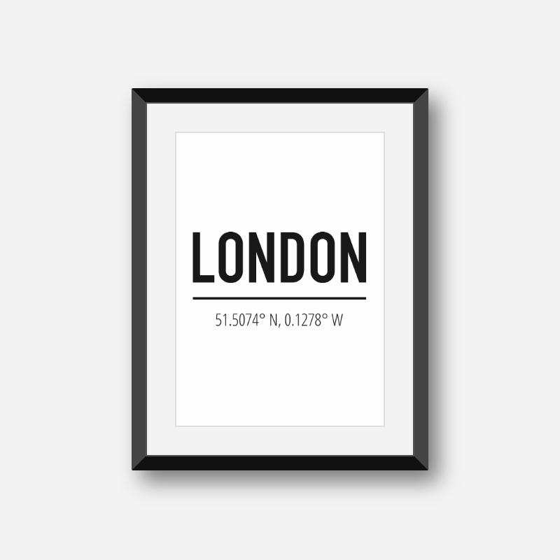 London coordinates typography downloadable wall art, free digital print
