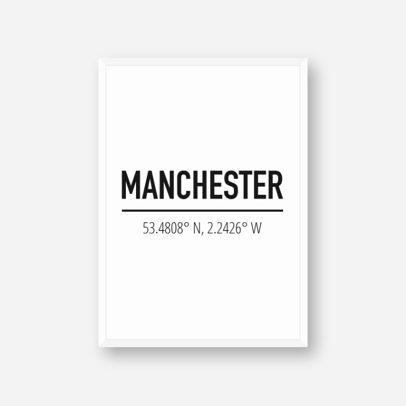 Manchester coordinates typography downloadable wall art, digital print