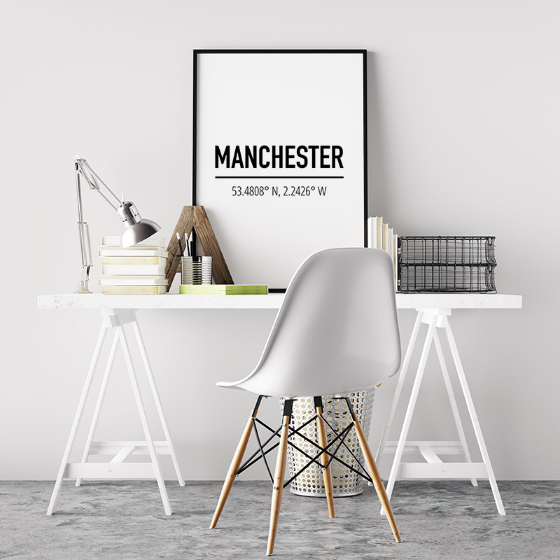 Manchester coordinates typography downloadable wall art, free digital print