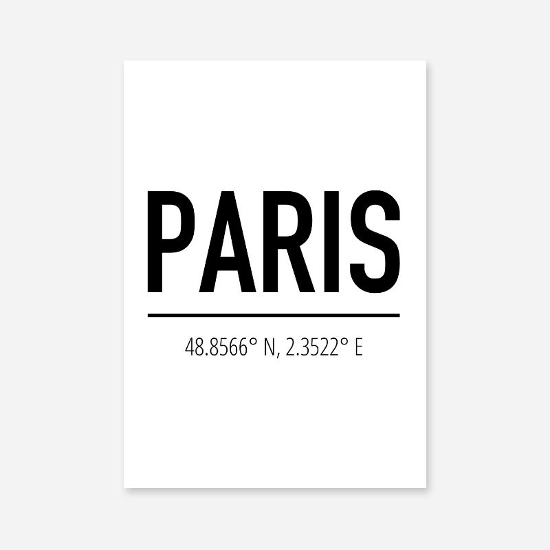 Paris coordinates typography downloadable wall art, digital print
