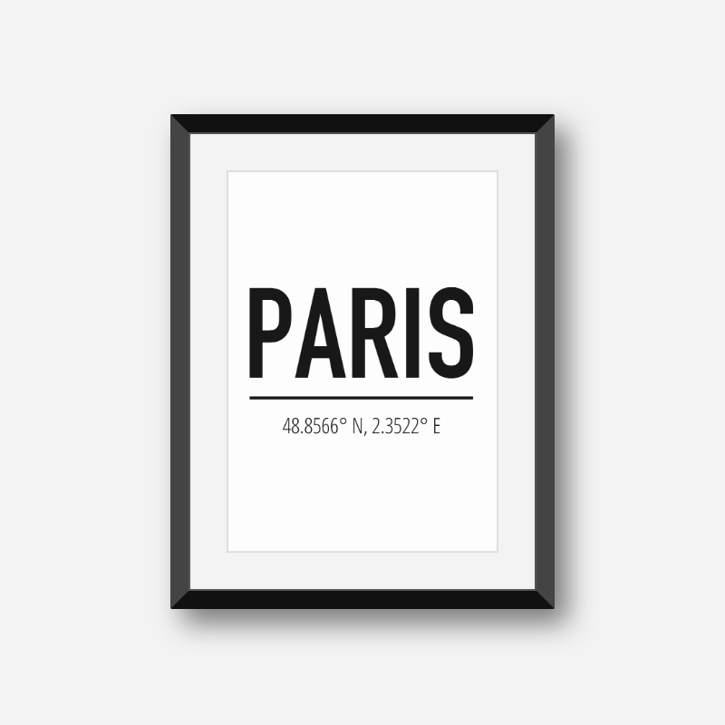 Paris coordinates typography downloadable wall art, free digital print