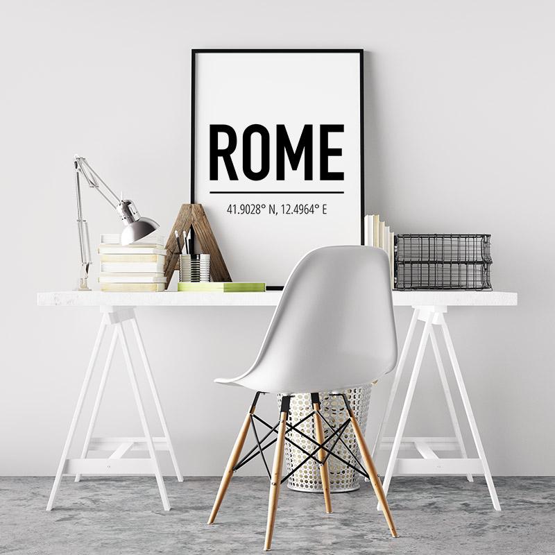 Rome coordinates typography downloadable wall art design, digital print