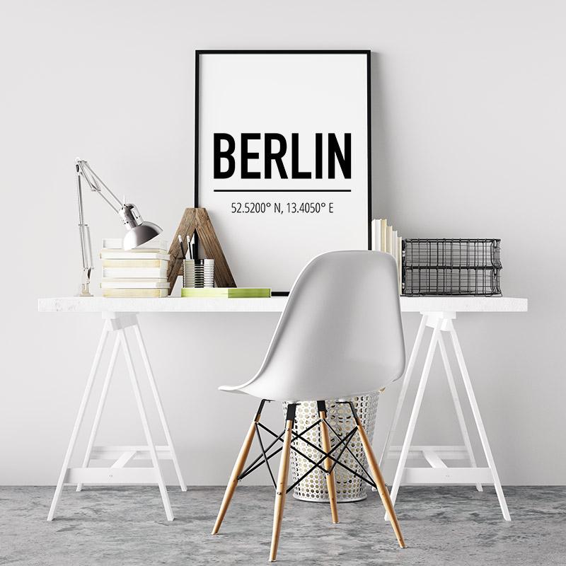 Berlin coordinates typography downloadable wall art design, digital print