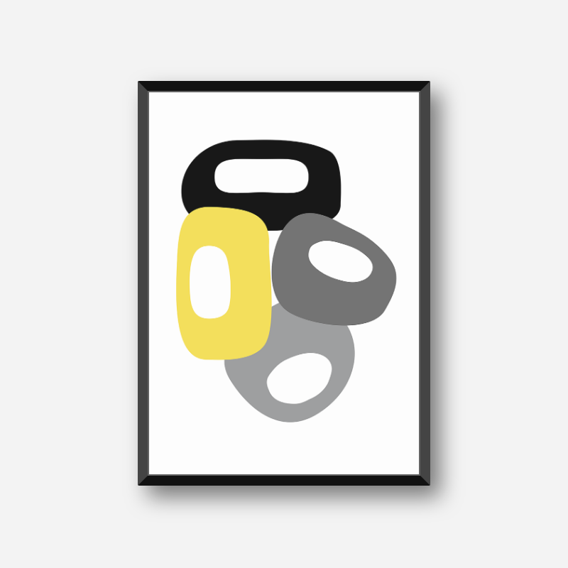 Geometric minimalist mid-century style black, grey and yellow printable wall art