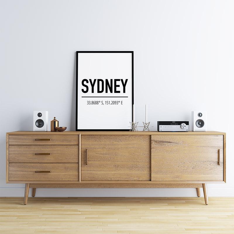 Sydney coordinates typography downloadable wall art design, digital print