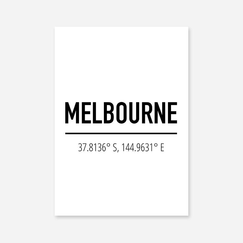 Melbourne coordinates typography downloadable wall art design, digital print