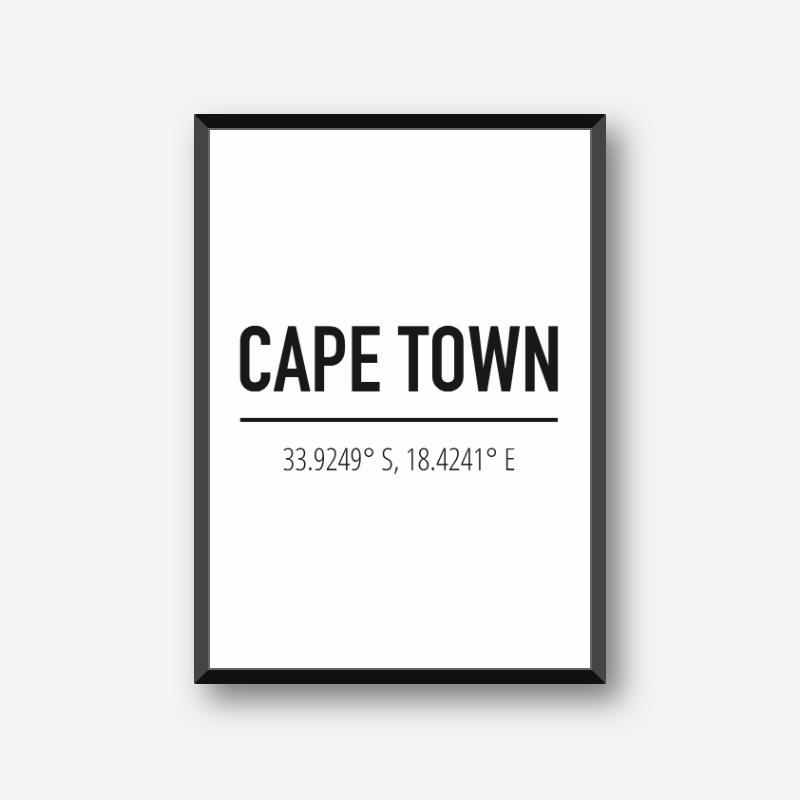 Cape Town coordinates typography downloadable wall art design, digital print
