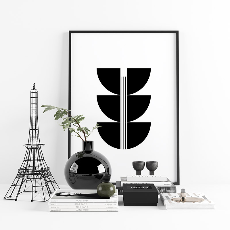 Mid-century modern style black and white abstract shapes minimalist downloadable free wall art design, digital print