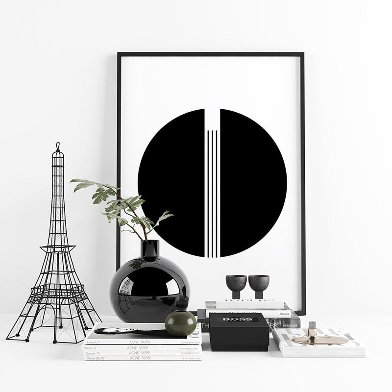 Mid-century modern style minimalist downloadable free wall art design, digital print