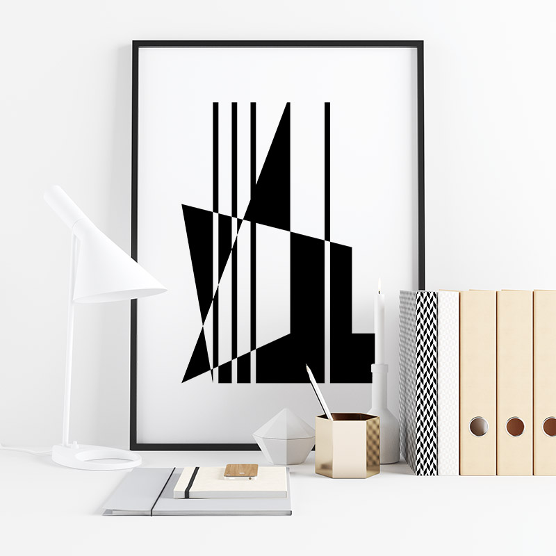 Abstract geometric mid-century modern style minimalist downloadable free design to print at home, digital print