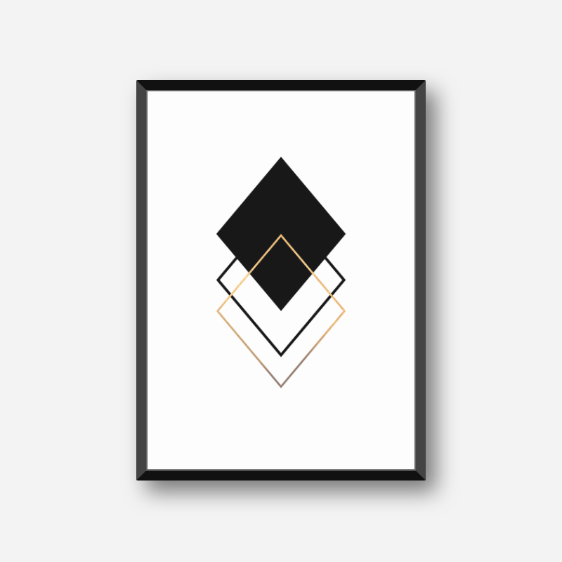 Black and gold rhombus geometric minimalist Scandinavian nordic style printable wall art