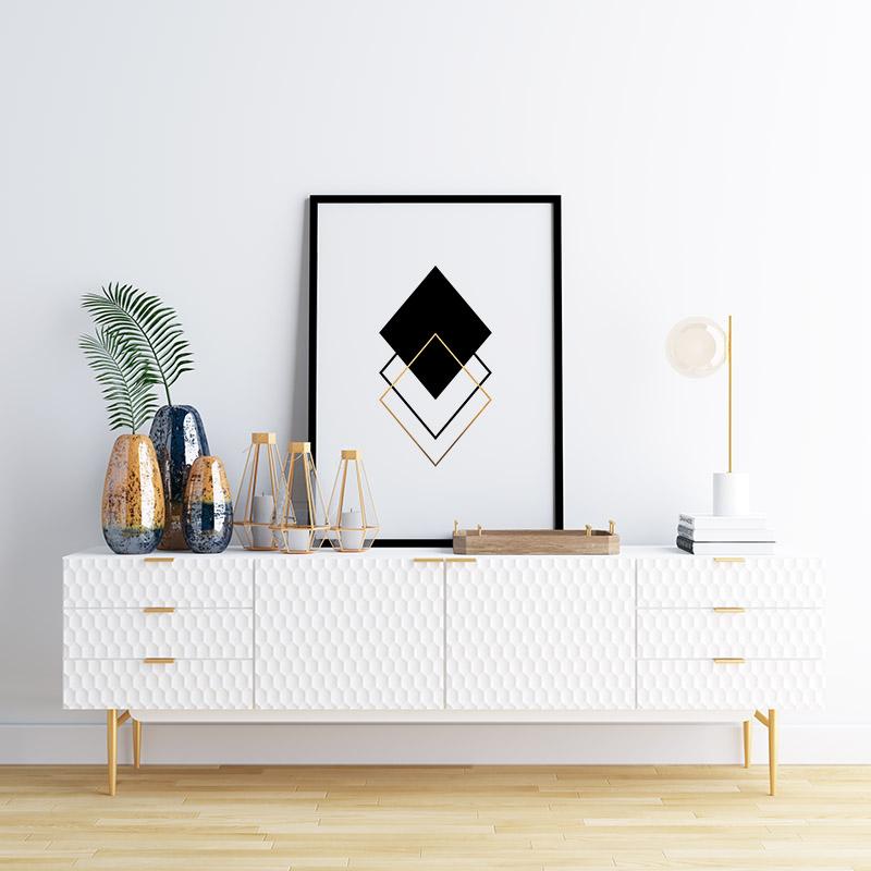 Black and gold rhombus geometric minimalist Scandinavian nordic style printable wall art, digital print