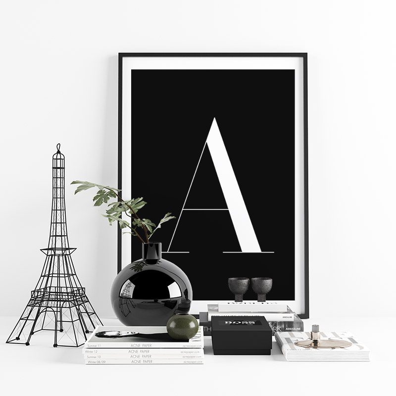 Letter A typographical minimalist free printable wall art, digital print