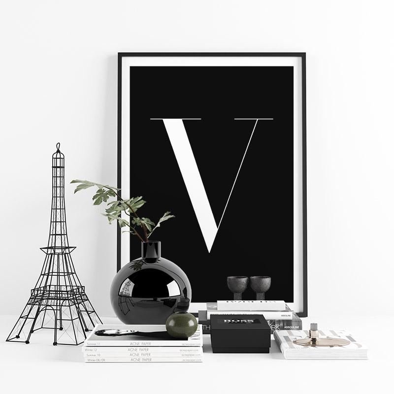 Letter V typographical minimalist free printable wall art, digital print