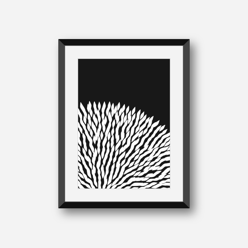 Fluffy abstract flower shape with black background minimalist printable design for wall art, digital print