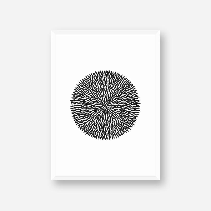 Black Dandelion like shape abstract minimalist printable design for wall art, digital print