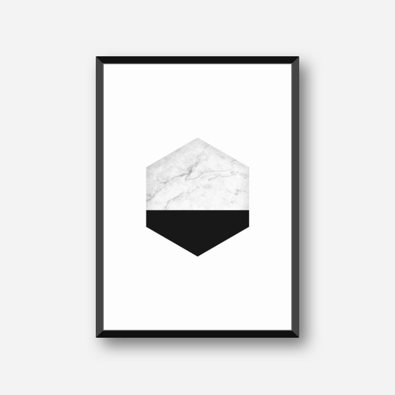 Marble and black hexagon geometric minimalist Scandinavian nordic style printable wall art, digital print