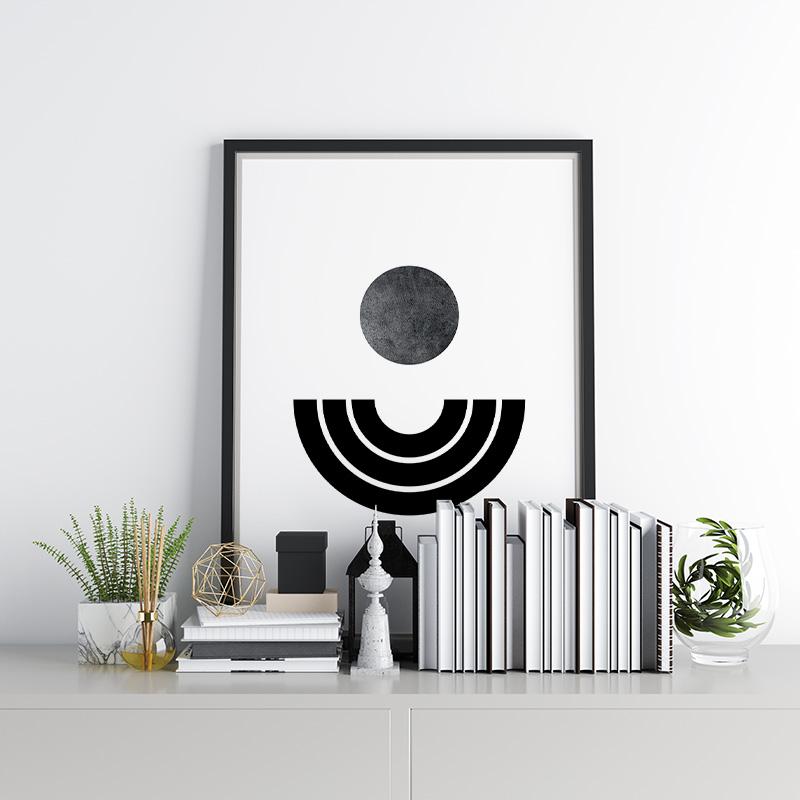 Dark moon black half circles Nordic style abstract minimalist printable wall art design to print at home, free digital print