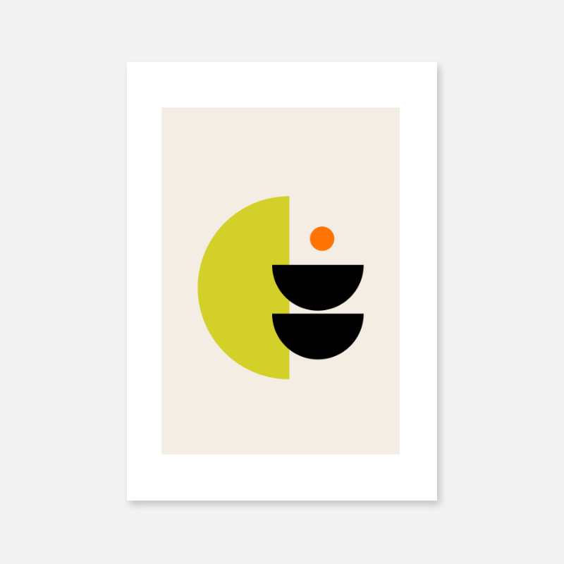 Bright flashy green black and orange half moon like abstract minimalist printable wall art design to print at home, free digital print