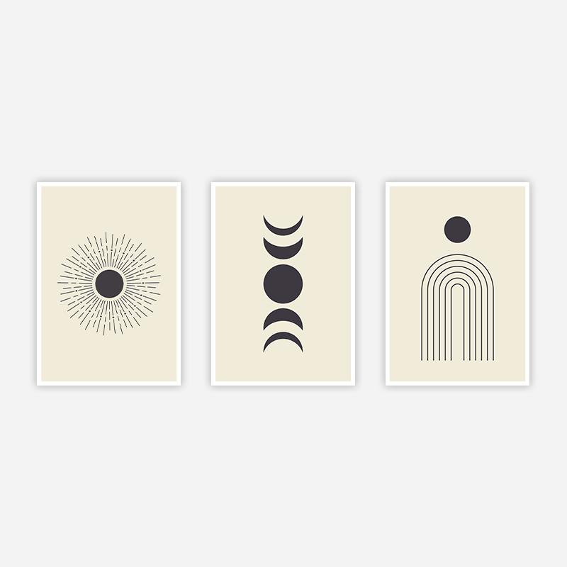 Abstract sunshine like minimalist wall art design part of a set of three free digital print