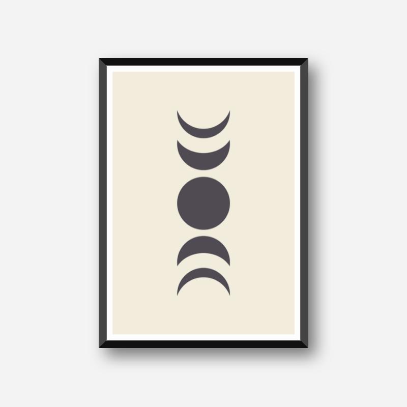 Moon phases abstract minimalist wall art design part of a set of three free digital print