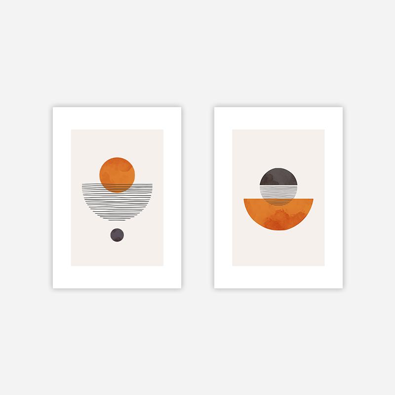 Orange half moon modern abstract minimalist wall art design free downloadable digital print