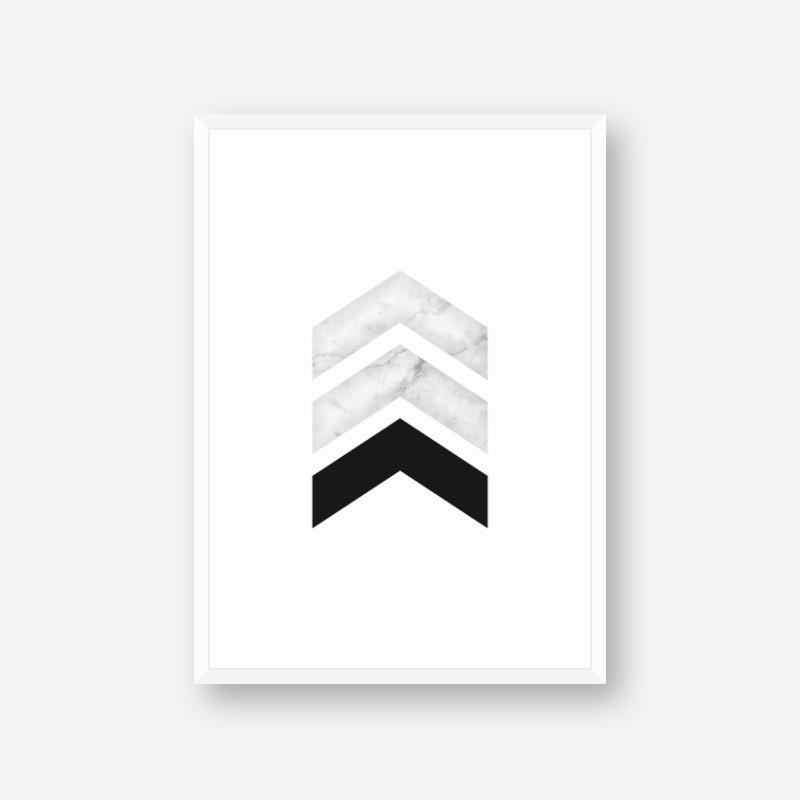 Marble and black chevron triangles geometric minimalist Scandinavian style printable wall art, digital print