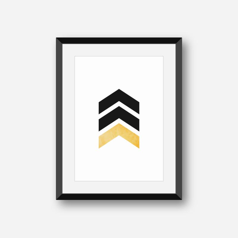 Black and yellow chevron triangles geometric minimalist Scandinavian style printable wall art, digital print