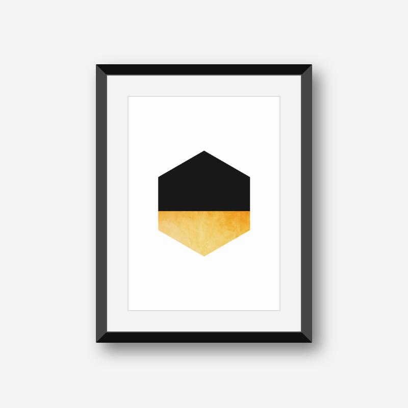 Black and yellow hexagon geometric minimalist Scandinavian style printable wall art, digital print