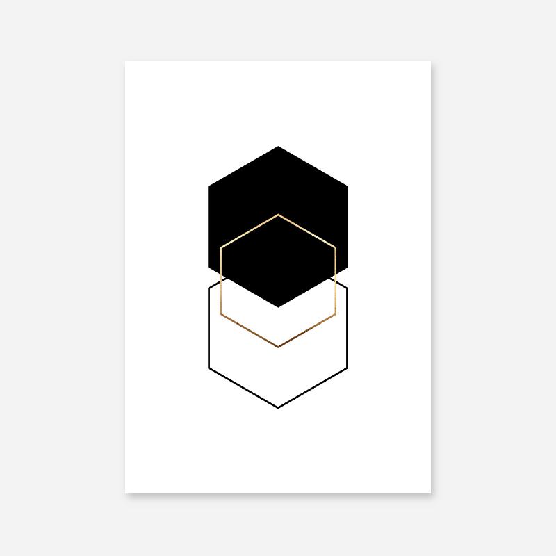 Black and gold hexagon geometric minimalist Scandinavian style printable wall art