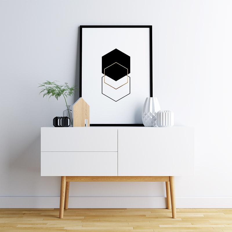 Black and gold hexagon geometric minimalist Scandinavian style printable wall art, digital print
