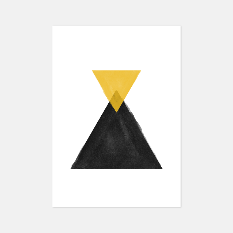 Yellow and black watercolour triangles downloadable wall art