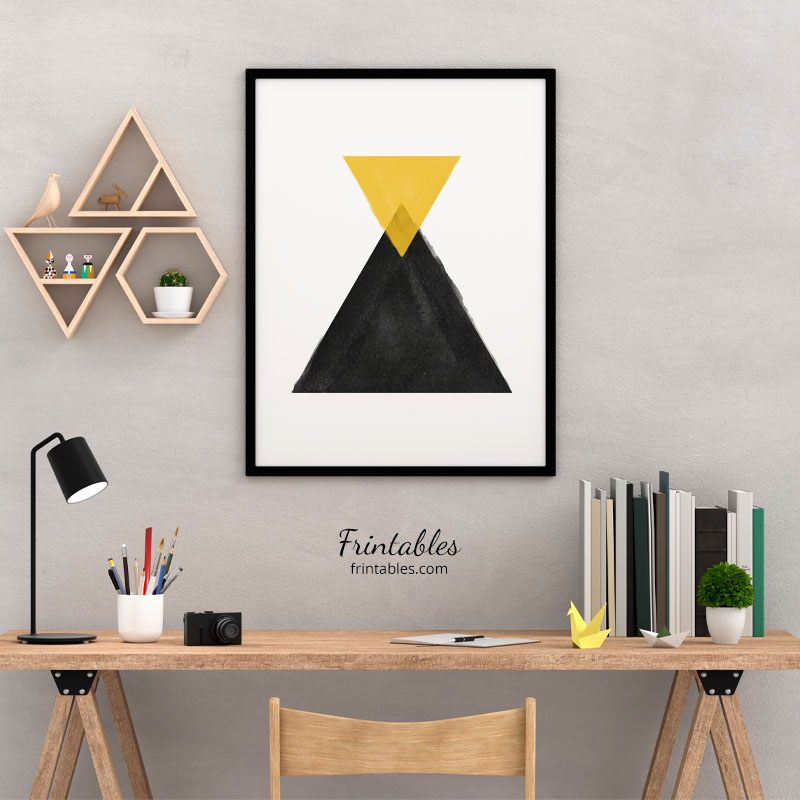 Yellow and black watercolour triangles downloadable wall art, digital print