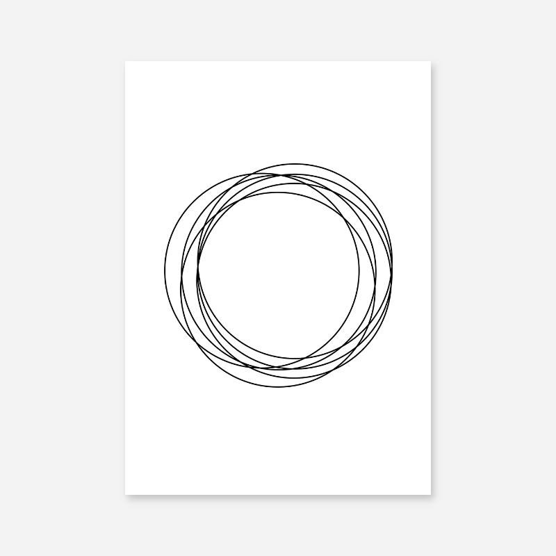 Black circles abstract geometric minimalist Nordic printable wall art