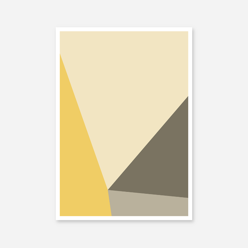 Yellow, brown and grey geometric polygon minimalist wall art