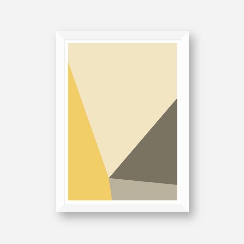 Yellow, brown and grey geometric polygon minimalist wall art, digital print