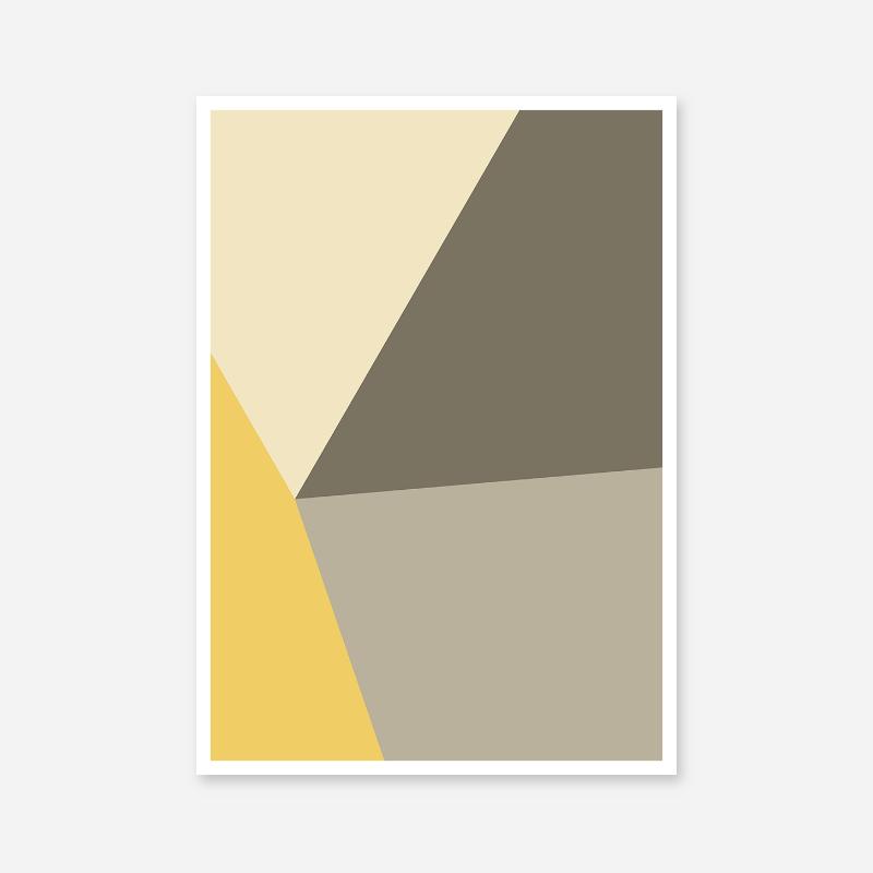 Yellow, brown and grey geometric polygon minimalist wall art