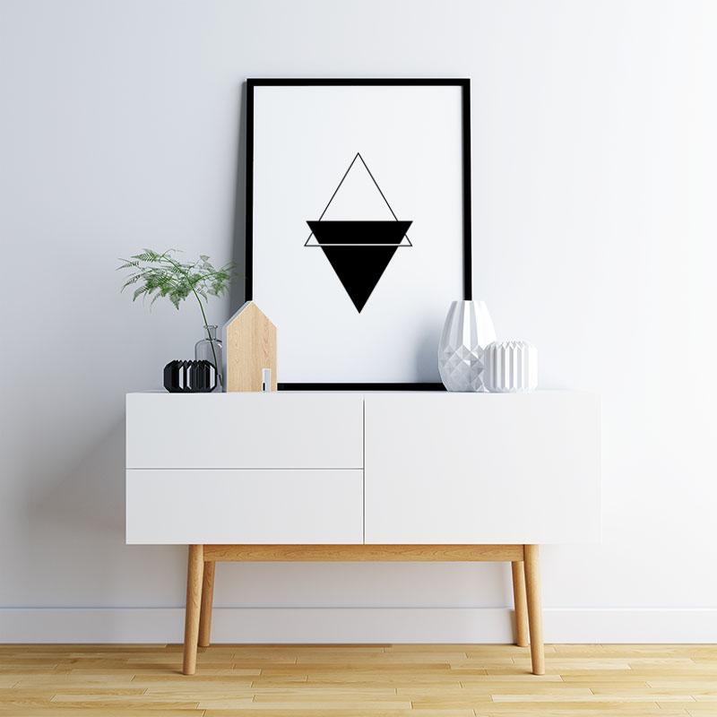 Black triangles minimalist Scandinavian nordic style downloadable printable wall art, digital print