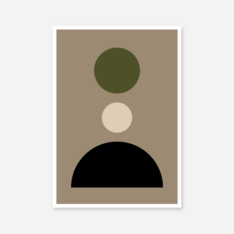Brown, black and olive green minimalist geometric shapes downloadable printable design