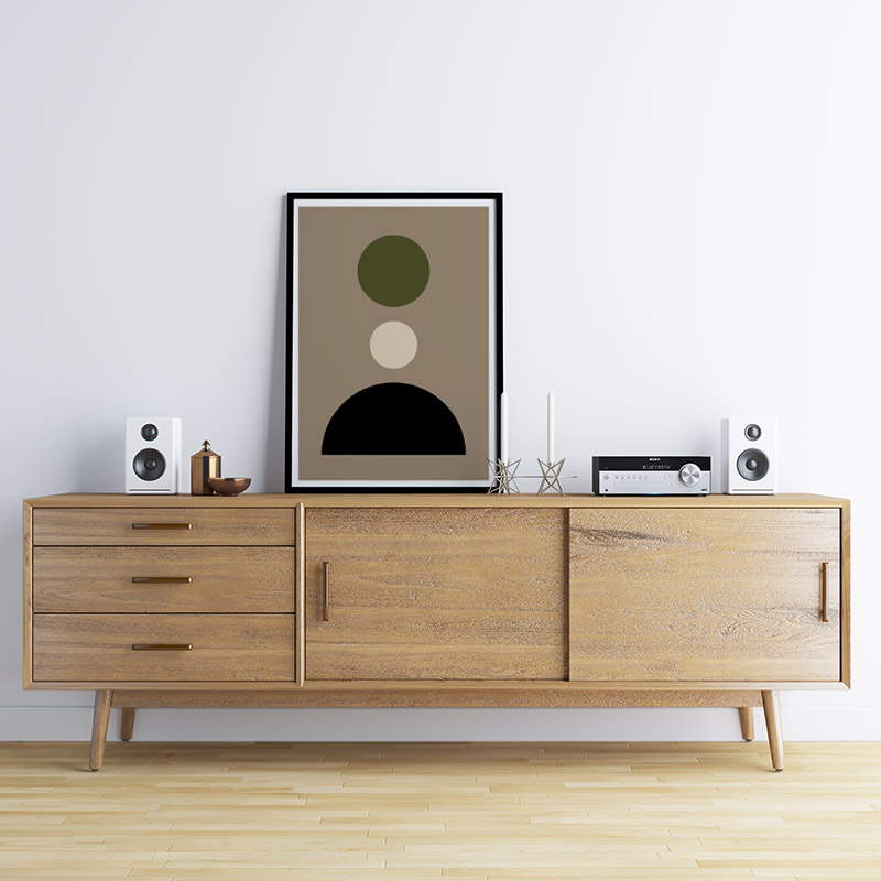 Brown, black and olive green minimalist geometric shapes downloadable printable design, digital print