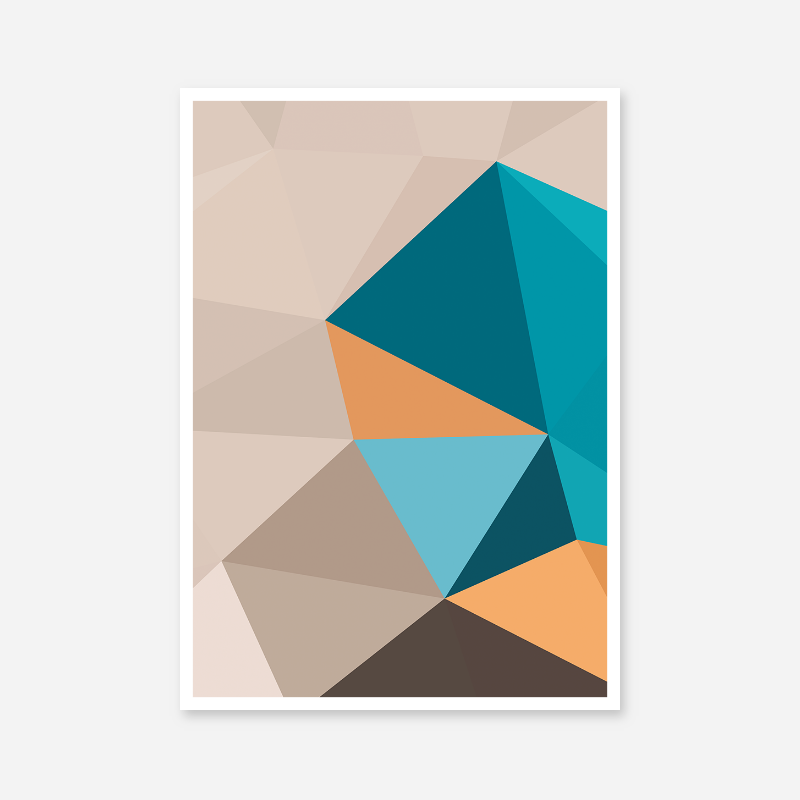 Brown, blue and orange polygon geometric downloadable wall art